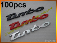 Wholesale 100pcs Black Red Silver Turbo Car Badge Sticker cm Emblem Badges Emblems Brand New