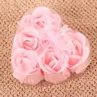 Wholesale 6 in flower Soap set hardmade rose petals flower paper soap Pink Box choose color