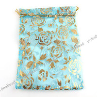 Wholesale 180pcs NEW Wedding Gift Organza Pouches Bags Sky blue Rose presant Candy Bags quot x