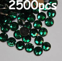 Wholesale 2500pcs mm Green Flat Back Resin Rhinestones Gems