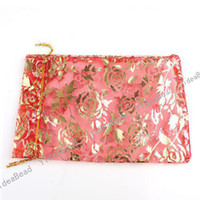 Wholesale 180pcs NEW Wedding Gift Organza Pouches Bags Red Rose presant Candy Bags quot x
