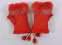 Wholesale rabbit fur gloves lady s winter fingerless gloves red color half fingers gloves