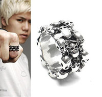 Wholesale 12pcs mens ring men finger ring skull ring retailer