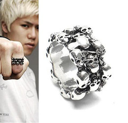 Wholesale 12pcs mens ring one size mm men finger ring skull rings retailer