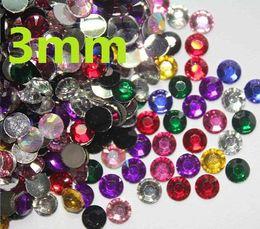 2500pcs 3mm 3D Mixed Colors Nail Art Decoration Rhinestones For nail art