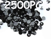Nail Art 3D Decoration flat back gems - 2500pcs mm Black Flat Back Acrylic Rhinestones Gems
