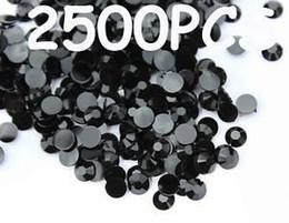 Wholesale 2500pcs mm Black Flat Back Acrylic Rhinestones Gems