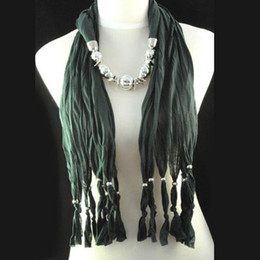 Fashion women jewelry scarf necklace ,beaded tassel design with beads design charm scarf necklace jewelry NL-1334H