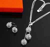 Earrings & Necklace Silver Plate/Fill Celtic hot new fashion jewelry 10set 925 silver charm chain ball earring necklace set High quality