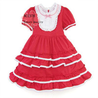 Wholesale Red Color Lovely Retro Princess Dress Girls Dress Cotton Polyester Fabric Mix Color size sets