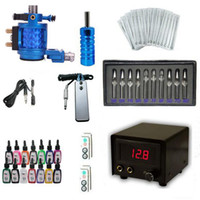 Wholesale Tattoo Equipment Kit Rotary Tattoo Machine Color Inks Power Supply Foot Pedal Aluminium Alloy Grip