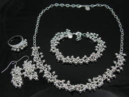 Wholesale New Products fashion jewelry silver charm bead ring earring bracelet necklace set