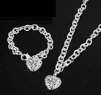 Wholesale 2014 new sell well Noble fashion jewelry silver charm heart chain bracelet necklace set set