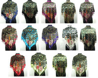 Wholesale of pc Peacock Beaded Silk Velvet Shawl Scarf S26