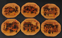 Wholesale Cheap Gift Glass Cup Coasters Wine Coaster Bamboo Painted Sets of with Packing Box pack Free