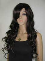 African-American Wigs african wigs wholesale - Brown long curly Kanekalon Synthetic hair Wig full WIG