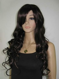 Wholesale Brown long curly Kanekalon Synthetic hair Wig full WIG
