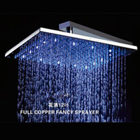 Wholesale 12 Square LED Light Shower head Chromed Brass LED Rainfall Shower NY21013 Factory supplies