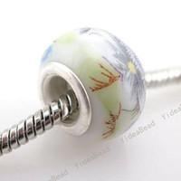 ceramic beads flower - 50x New Flower Ceramic Charms Beads Fit Bracelets
