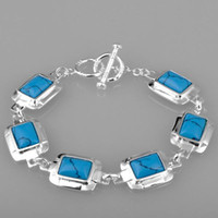 Wholesale Fashion blue gemstone in square bezel silver bracelet