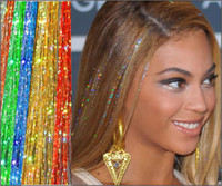 Wholesale 24 quot BellaVia Tinsel Hair Extensions Bling String D Rainbow strands