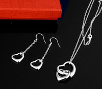 best boys love - new fashion set silver charm heart Love Password bracelet necklace set jewelry best quality