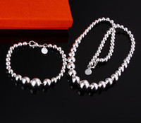 Wholesale new fashion set silver charm Strange beads chain bracelet necklace set jewelry top quality