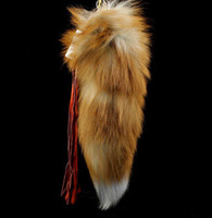 Wholesale Crystal Fox Tail Fur Bag Hanging Crystal Fox Fur Keychain Crystal Fox Fur Key Ring K14