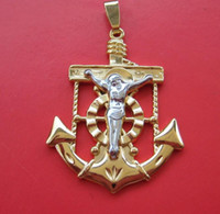 South American angels christ - anniversary captain CHRIST CROSS JESUS solid K GOLD GP NEW pendant charm necklace gorgeous jewelry