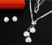 Wholesale Rose silver jewelry set silver jewelry sets rose flower style necklace earring