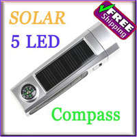 Wholesale Solar Powered LED Flashlight Torch With Compass