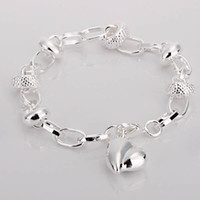 Wholesale top quality fashion silver charm Gorgeous heart love bracelet jewelry cheer Christmas gift