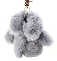 Wholesale Rex Rabbit Fur Key Holder Mobile Strap Coppia Fur Keychain Key Ring Fur Bag Hanging Bag Hanger K50