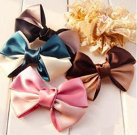 Wholesale Hot Girls Hair Claw Clips Double Color Bowknot Ribbon hair Clasp Hairpins