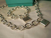 Wholesale Designer Jewelry lock New Jewelry Sets Sterling Silver Bracelet and Necklace Sets Fashion women s Jewelry Sets lock with box glitter2009