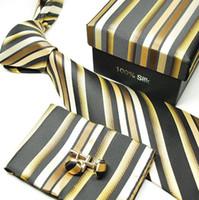 Wholesale men tie set striped men s ties necktie cuff links black tie men s tie sets cufflinks tie hanky