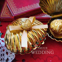 Wholesale 100 Silver Golden Shell Wedding Gift Box Favors Wedding candy box Sweet boxes