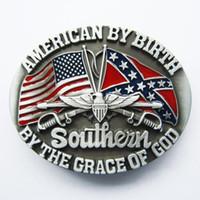 Wholesale Retail Belt Buckle American Confederate Rebel Flag