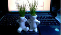 Wholesale 10X Creative Gift Plant Hair man Plant Bonsai Grass Doll Office Mini Plant Fantastic Home Decor pot