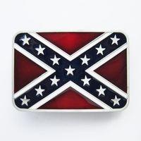 Wholesale Men Belt Buckle Confederate Rebel Enamel Rectangle Flag Belt Buckle Gurtelschnalle Boucle de ceinture