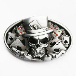 Wholesale Retail Skull Belt Buckle Dice Skull Tattoo Poker Casino Belt Buckle CA076