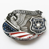 Smooth Buckle american police cars - Retail Belt Buckle American Hero Police