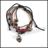 Wholesale 20cm Pendant Beads Bracelets Tribal Surfer Brown Leather Cords Wristband Bracelets