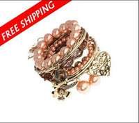 Wholesale gorgeous europe in a set multilayer bracelet Peach flower delphinium