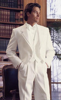 Wholesale New mens white complete designer suit Bridegroom suit Clothes Pants vest bow
