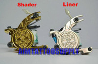 2 Pieces skull tattoo gun - 2011 HOT tattoo machine kit Shader and Liner tatto Gun Skull Flower