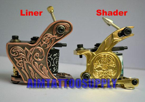 Top sale tattoo machine kit shader and liner skull flower for Difference between shader and liner tattoo machine