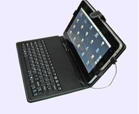 Wholesale black quot quot quot USB Tablet PC Leather Keyboard Case for ZT180