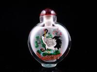 Wholesale Peking Glass Inside Cranes Pine Trees Snuff Bottle piece