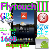 Wholesale 16GB quot tablet pc Flytouch3 Android market skype GPS wifi Camera X220 SuperPad